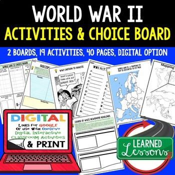 World War II Activity Choice Boards Paper and Google Link
