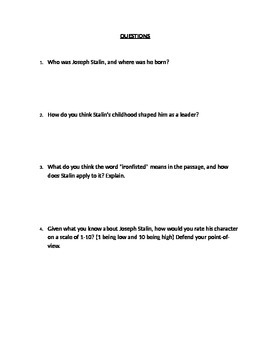 World War II Activity (With Higher Order Thinking Questions)