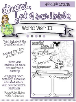 World War II, Anne Frank-Draw, Jot, & Scribble, Doodle Notes