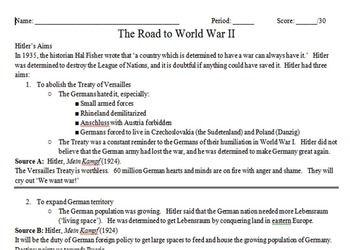 World War II Appeasement Primary & Secondary Source Assignment
