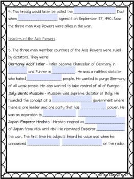 World War II Axis Powers Internet Scavenger Hunt WebQuest Activity