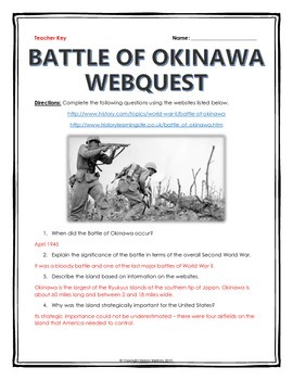 World War II - Battle of Okinawa - Webquest with Key
