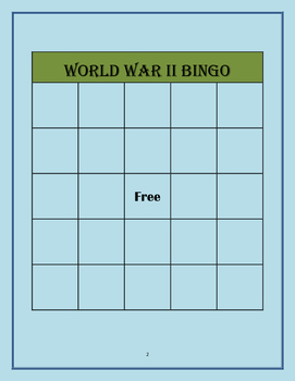 World War II Bingo