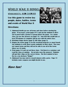 World War II Bingo