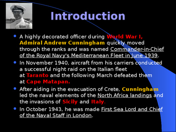 World War II - British Military Leaders - Sir Andrew Cunningham