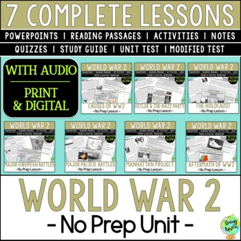 World War 2 Bundle, World War II, WW2, WWII; Distance Learning
