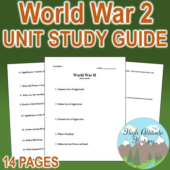 World War II Unit Study Guide (U.S. History / World History)