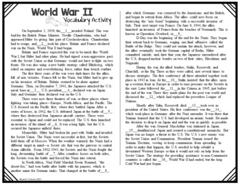 World War II Complete Vocabulary Unit