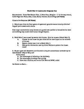 World War II Constructive Response Paper
