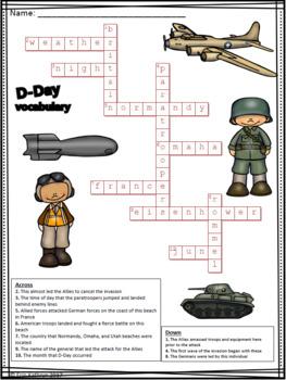 World War II D-Day Vocabulary Crossword Puzzle Activity