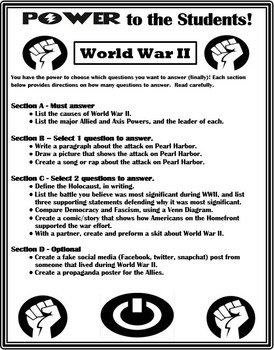 World War II Differentiation Activity - Power to the Students!