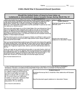 World War II Document-Based Questions and Open-Ended Response