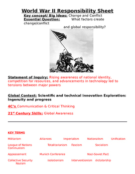 World War II: Essential  Questions, Key People/ Terms, Out