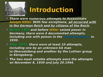 World War II - European Theater - Assassination Attempts on Hitler
