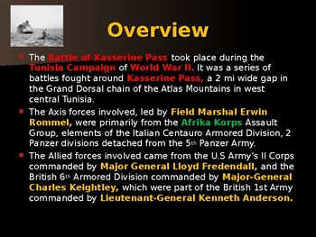 World War II - African Campaign - Battle of Kasserine Pass