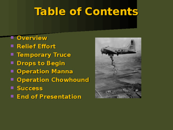 World War II - European Theater - Operations Manna & Chowhound