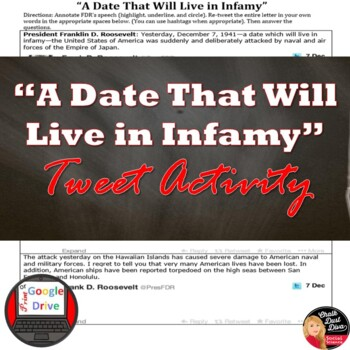 "World War 2: FDR's Speech, ""A Date That Will Live in Infamy"" Tweet it! Analysis"