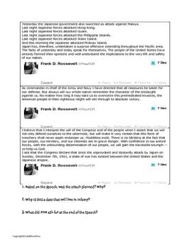 "World War II: FDR's Speech, ""A Date That Will Live in Infamy"" Tweet it! Analysis"