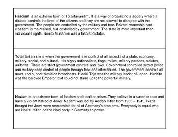 World War II: Fascism, Totalitarianism, Nazism