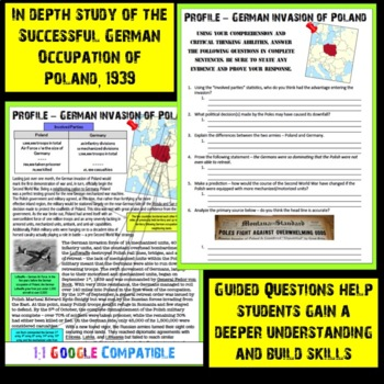 World War II - German Invasion and Occupation of Poland Guided Reading!