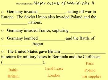 World War II Guided Notes Flipchart