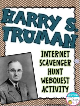 World War II Harry Truman Internet Scavenger Hunt WebQuest Activity