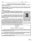 World War II Historical Assessment of Thinking (Quiz) Common Core