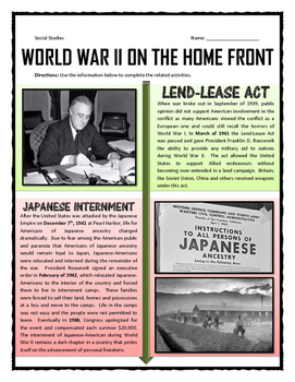 world war ii home front reading questions and journal activity. Black Bedroom Furniture Sets. Home Design Ideas