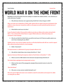 World War II Home Front - Reading, Questions and Journal Activity