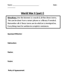 World War II Homework Definitions (Part I)