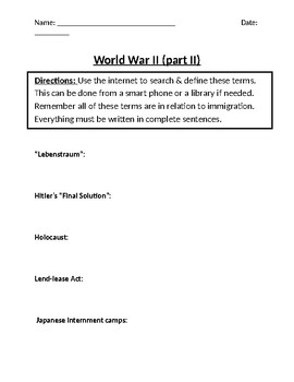 World War II Homework Definitions (Part II)