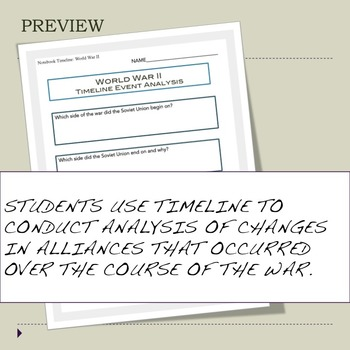 World War II Interactive Notebook Timeline Activity or Collaborative Project