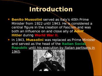 World War II - Italian Political Leaders - Benito Mussolini
