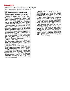 World War II: Japanese-American B-D-A Literacy Activity