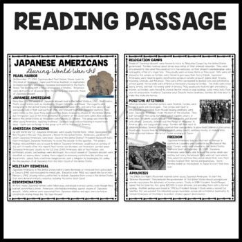 World War II Japanese Americans Article on Relocation Camps with Questions, DBQ