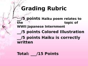 World War II Japanese Internment Haiku Poem Rubric with Examples