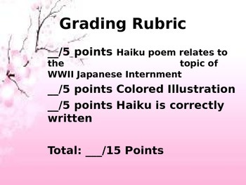 World War II Japanese Internment Haiku Poem Rubric with Examples