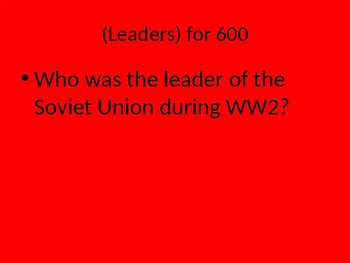 World War II Jeopardy Test Review