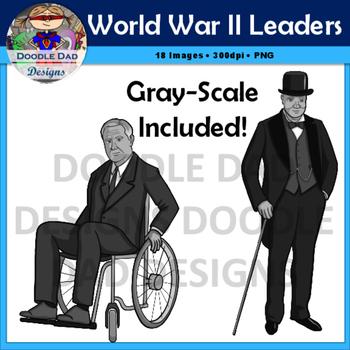 World War II Leaders Clip Art (World War 2, Roosevelt, Churchill, Hitler)