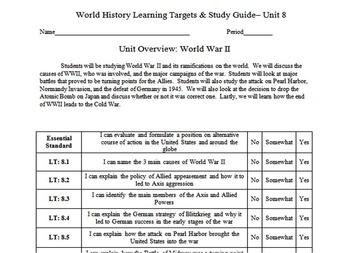 World War II Learning Targets, Study Guide, & Essential Standard