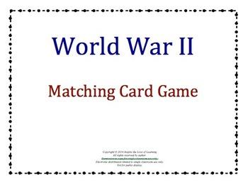 World War II Matching Card Game