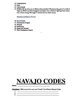 World War II:  Navajo Code Breaking Activity