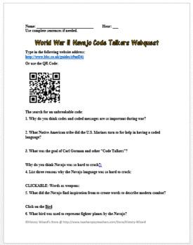 World War II Navajo Code Talkers Webquest