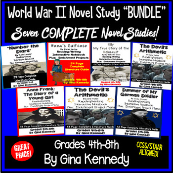 World War II Novel Study Bundle, Seven Complete WWII Literature Units!