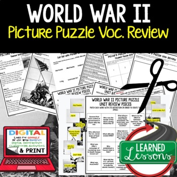 World War II Picture Puzzle Unit Review, Study Guide, Test Prep