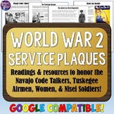 World War 2 Plaques (Navajo Code Talkers, Tuskegee Airmen, Women, & Nisei)