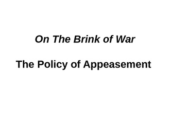 World War II: Policy of Appeasement