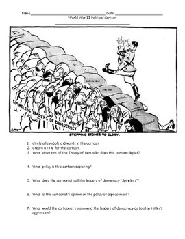 World War II Political Cartoons Worksheet with Answer Key ...