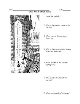 World War II Political Cartoons Worksheet with Answer Key
