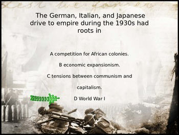 World War II PowerPoint Review/Test Questions with animated answer pop up